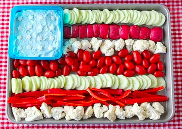 American Flag Veggie Tray with Dill Dip