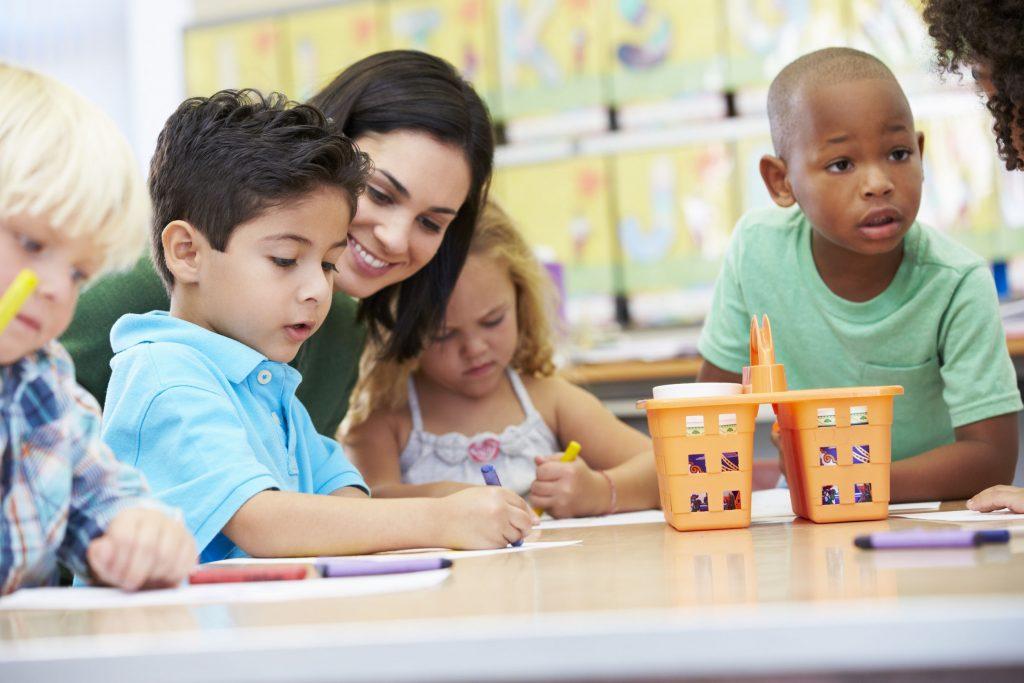 Alt: elementary school kids with a teacher during an after-school program